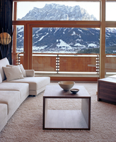 Living room overlooking beautiful mountains