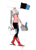 Illustration of a woman with an addiction to shopping.