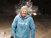 Young man being hit by a snowball, Frankfurt, Hessen, German