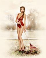 Blonde woman in red lingerie raking leaves in the park, Pari