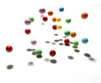 colour balls bouncing shadow white