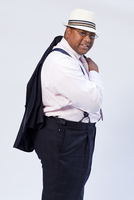 African-American Overweight Man 30-40 Years Old In Glasses,