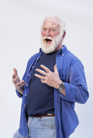 Caucasian Senior Man 60-70 Years Old With White Hair And Bea