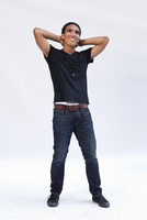 African-American Man, 20-30 Years Old, In Jeans, Black T-Shi