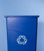 Blue Recycling Bin On Blue Background