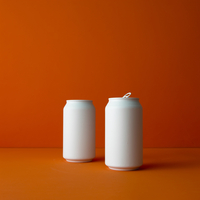 Recycling, White Cans On Orange Background