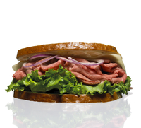 Roast Beef Sandwich With Lettuce And Onion On Bread