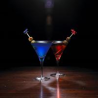 Democrat And Republican Symbol On Stirrer In Martini Glasses