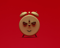 Alarm clock with evil face