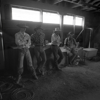 Cowboys hanging out in the barn