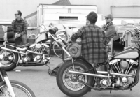 bikers and old harleys hanging before trip