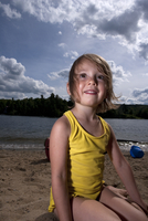 Portrait of young girl at beach