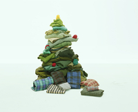 Christmas tree built from old clothes