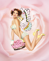 Woman in lingerie flying through the air with butterfly wing