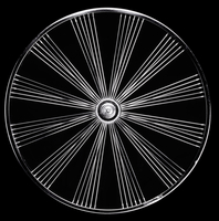 Elegant bicycle wheel, Berlin, Germany.