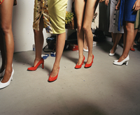 Backstage at fashion week for a young designer