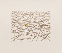 Still life of cocktail sticks and cheese arranged in a graphic pattern