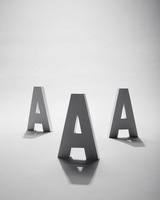 3D A's on a white background