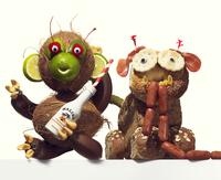 dog and monkey made from food 20055017137| 写真素材・ストックフォト・画像・イラスト素材|アマナイメージズ