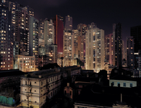 Apartment buildings in Central Hong Kong at night, Old prison in foreground