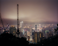 View of central Hong Kong and Kowloon at night from the hills
