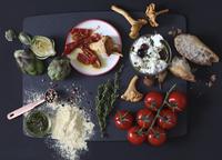 still life of bruschetta ingredients
