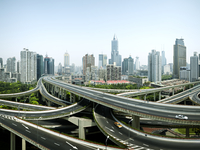 Road interchange overview infrastructure, freeway, Shanghai, China
