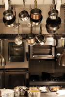 Pots and pans in a professional kitchen