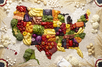 United States map made out of healthy colorful food