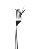 Clock hands on a fork