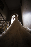A bride on the stairs