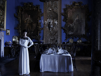 Fashion Story Model In White Outfit In A Blue Dining Room In A Heritage House