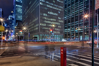 Traffic And Motion And Light Streaks At 6Th Avenue And 47Th Street In Nyc