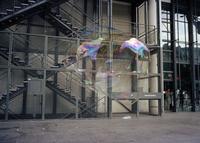 Large Soap Bubble Floating In Front Of Pompidou Center, Paris, France
