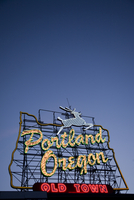 Portland Oregon lighted sign at night