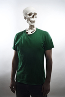 man with bare skull for head