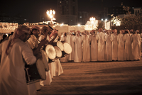 group of Emirati drummers at a festival