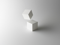 Tumbling Cubes on White Background