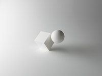 Cube and Sphere on White Background