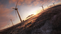Wind farm at sunset on a frosty day.