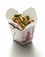 Beef and broccoli in a classic Chinese take out carton