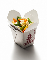 Vegetable stir-fry in a classic Chinese take out carton