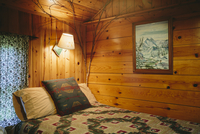 Interior of one room Adirondack cabin at the Mt. Van Hoevenberg bed and breakfast.