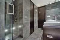 Gray Trimmed Modern Bathroom With Dark Wood Trim