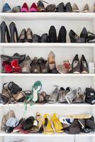 closet shelves with women's shoes
