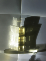 Still life of tartan patterned perfume bottle with dramatic shadow play. 20055023114| 写真素材・ストックフォト・画像・イラスト素材|アマナイメージズ