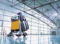 Airport Baggage trolley in arrivals hall.