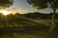 La Manga golf course and club atdawn as the sprnklers come on. La Manga Club, Cartagena, Murcia