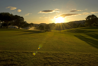 La Manga golf course and club atdawn as the sprnklers come on. La Manga Club, Cartagena, Murcia