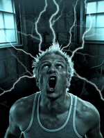 Guy with electricity coming out of his head